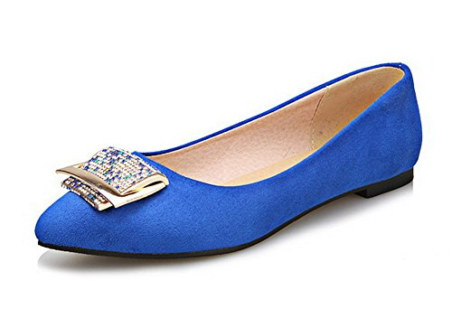 VogueZone009 Women's Pointed Closed Toe Low-Heels Frosted Solid Pull-On Pumps-Shoes Blue