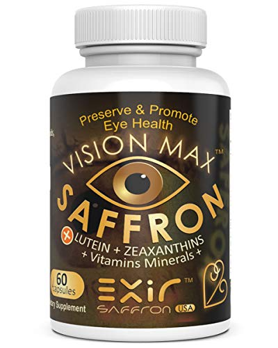 Vision Max® Saffron Plus Lutein, Zeaxanthin, Meso-Zeaxanthin Grape Seed Extract + AREDS 2 Vitamin, Minerals | Potent Fine Quality Unique Supplement Macula, Vision, 60 Capsules