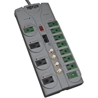 Tripp Lite 12 Outlet (8 Energy Saving) Surge Protector Power Strip, 10ft Cord, Right-Angle Plug, Lifetime  Warranty & $250,000 INSURANCE (TLP1210SATG)