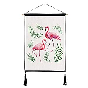 Flamingo Nordic Home Decoration Wall Hanging Tapestry Cloth Animal Background Cotton Linen Wall Art Paintings Poster