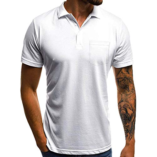 Willow S ☪✯ღ☪Fashion Men's Casual Personality Slim Short Sleeve Collar Pocket Button T Shirt Fitness Sports Top Blouse White ()