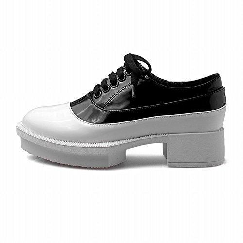 Mee Shoes Damen mehrfarbig chunky heels Schnürhalbschuhe Weiß