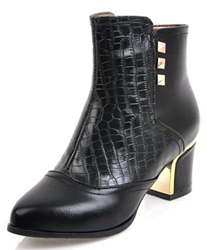 IDIFU Womens Sexy Studded Side Zipper Pointed Toe Ankle Boots Mid Chunky Heels Black 5e6i38DKJ8