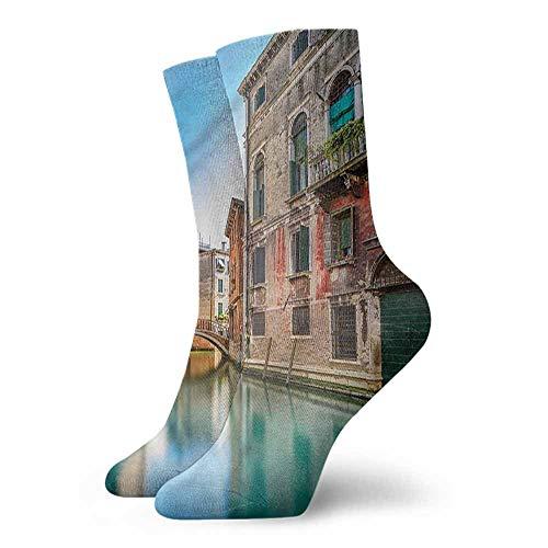 Fashion Shiny Socks Venice,Italy City Water Canal 3.4