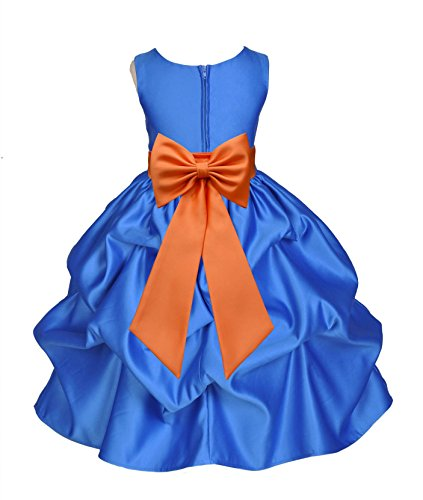 ekidsbridal Royal Blue Satin Bubble Pick-up Flower Girl Dresses Christening Dresses 208T 10