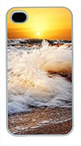 High Quality Fashion White PC Case for iPhone 4 Generation Back Cover Case for iPhone 4S with Stormy Sea