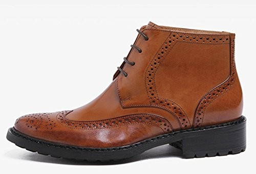 Brown Formal Brogue Ankle Smart Leather Boots Shoes Lace Liveinu Combat Light qHtv6EPw