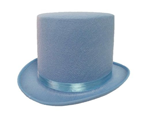 [Dumb and Dumber Style Baby Blue Felt Top Hat Adult Tuxedo Costume Accessory Prom] (Blue Top Hat)