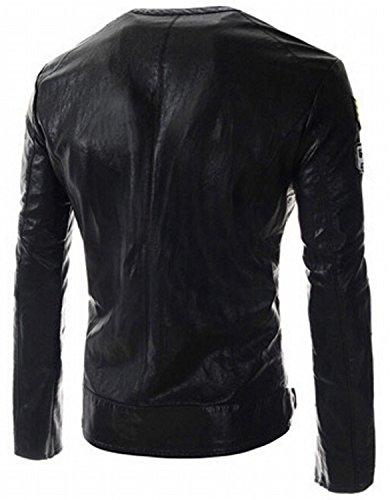YouzhiWan007 Men's Slim PU Leather Motorcycle Rider Jacket B