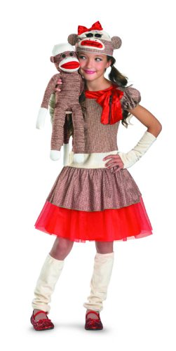 Monkey Sock Costume (Sock Monkey Girl Costume, Beige/Brown/Red,)