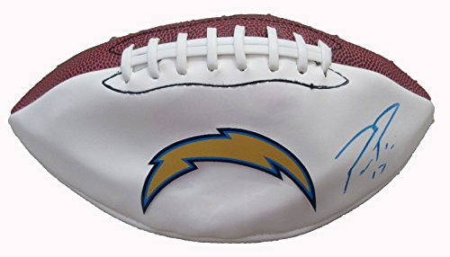 Philip Rivers Autographed San Diego Chargers Logo Football W/PROOF, Picture of Philip Signing For Us, San Diego Chargers, North Carolina State Wolfpack, Pro Bowl