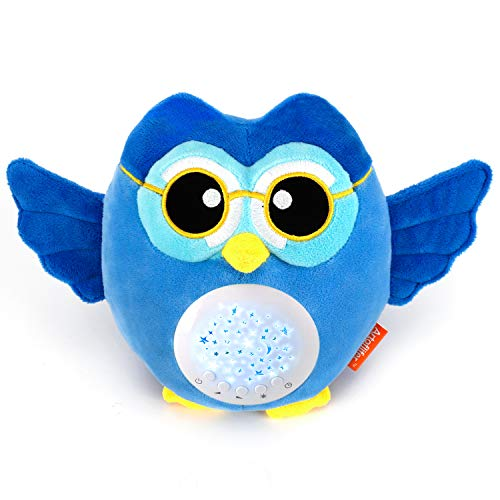 Artoflifer HugMe - Baby Sound Machine | White Noise Machine | Baby Nursery Night Light Projector | Portable Baby Sleep Soother | Blue Stuffed Owl Toy | Sleep Aid with ()
