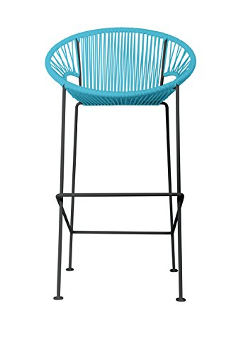 Innit Designs i10c-01-04 Puerto Stool (Counter) -Blue Weave on Black Frame (Furniture Toronto Contemporary Outdoor)