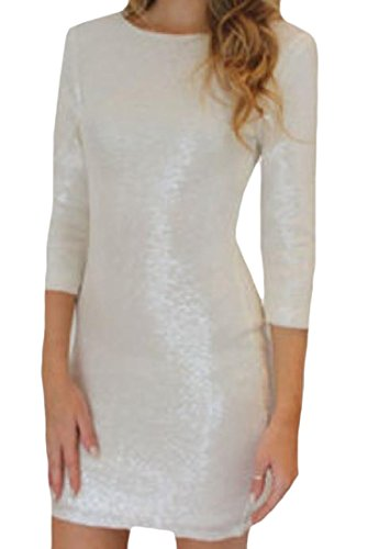 Backless Fashion Sequin Dress Sexy White Comfy Pencil Slimming Womens Pxgw6BqXt