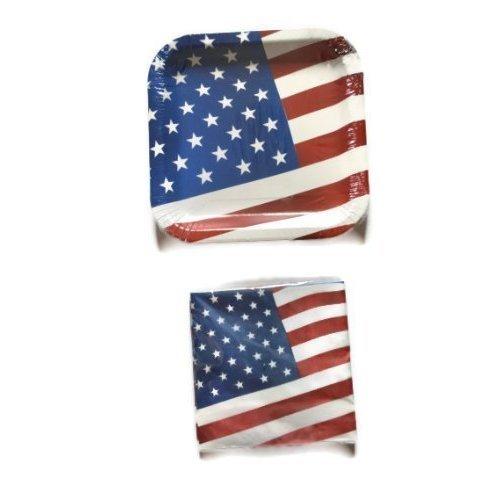 American Flag Paper Plates & Napkin Set for 14