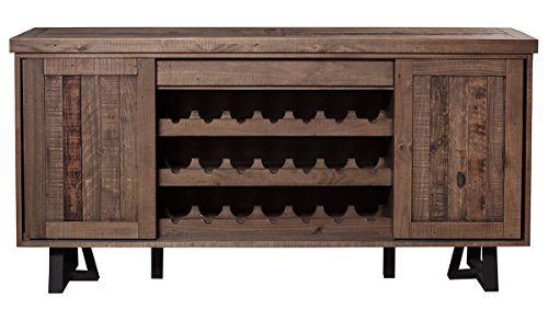 "Farmhouse Buffet Sideboards Alpine Furniture Prairie Sideboard with Wine Holder, 72″ W x 18 D"" x 36″ H, Reclaimed Natural and Black Finish farmhouse buffet sideboards"