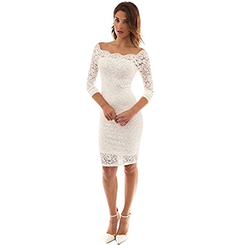 PattyBoutik Womens Off Shoulder Twin Set Floral Lace Dress (Off-White XL)