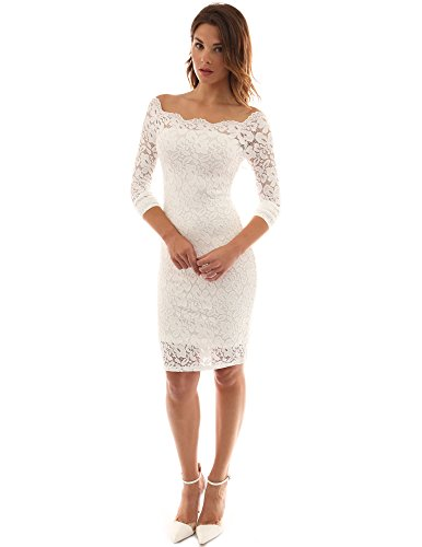 PattyBoutik Women Off Shoulder Floral Lace Twin Set Dress (Off-White Small) ()