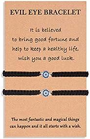 VGWON Evil Eye Bracelet CZ Mal De Ojo Nazar Kabbalah Turco Protection Good Luck Amulet for 2 Women Men Family