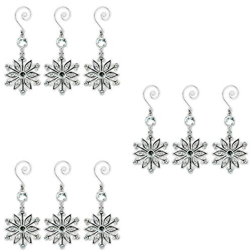 Snowflake Ornaments - Set of 9 Sparkling Crystal and Filigree Snowflakes - Comes in a Beautiful Silver Gift Box - Add Sparkle to Your Christmas Tree, Holiday Decorations, Presents and Gifts- 3 Pack