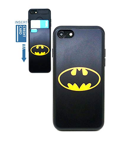 [iPhone 7 Wallet Case/iPhone 8 Wallet Case] KUBRICK Card Holder Slide Cover Bumper Phone Case Dual Layer Protection UV Printing (Batman)]()