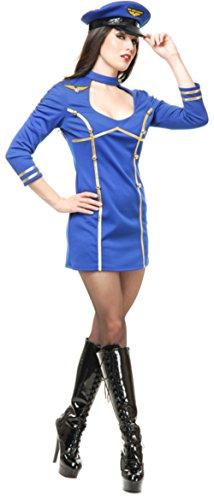 [Women's XL 14-16 Sexy Blue Fly Me Airline Stewardess Pilot Costume] (Woman Pilot Halloween Costume)