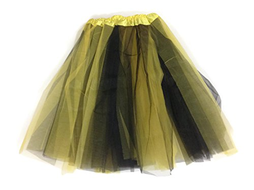 Bee Tutu Costumes (Rush Dance Multi Color Women's Costume Ballet Warrior Dash Run Tutu (Adult, Black/Yellow (Bee)))