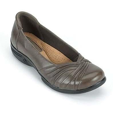 Earth Origins Women's Brandywine Leather Flats Grey Bark - Size 6.5