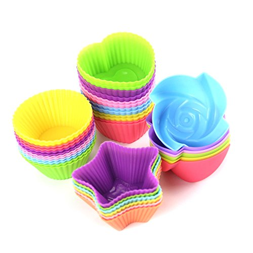 Wisdompark 24 Pack Silicone Cupcake Liners 2.75 ×1.57 × 1.18 inches, Nonstick/Heat Resistant/Reusable Silicone Muffin Baking Cups Silicone Jelly Molds ()