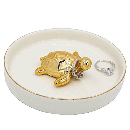 WANYA Ceramic Ring Jewelry Holder Decor Dish Organizer,Tortoise