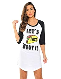 6942d302e JUST LOVE 100% Cotton Sleep Dress for Women Baseball Sleeve Nightshirt