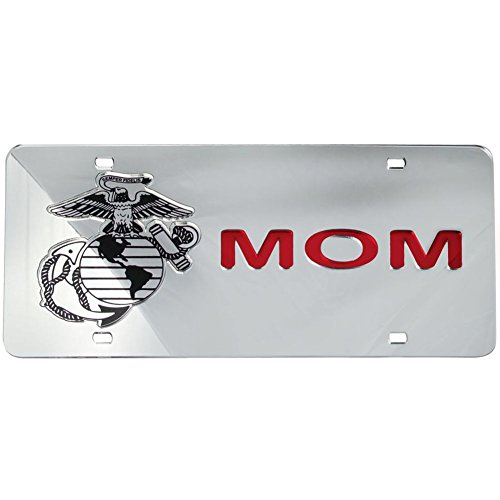 Honor Country Mirror Inlaid US Marine Corps Mom License Plate
