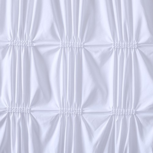 Intelligent Design Benny Elastic Embroidery Pleated Modern Cute Bathroom Shower Curtain, 72X72