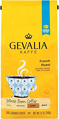 GEVALIA French Roast Coffee, Dark, Whole Bean, 12 Ounce