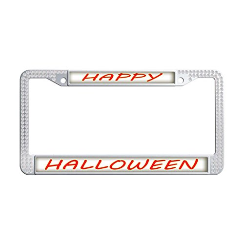 (Dongsmer HAPPY HALLOWEEN Crystal Protector License Plate Frame Handmade Auto License Plate Frame With 2 Holes and Bolts Washer)