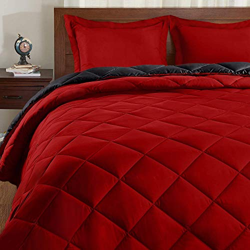 Basic Beyond Down Alternative Comforter Set (Queen, Black/Red) – Reversible Bed Comforter with 2 Pillow Shams for All…