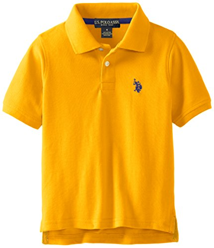 U.S. Polo Assn. Boys' Little Classic Short Sleeve Solid Pique Polo Shirt, Warhol Orange, 3T