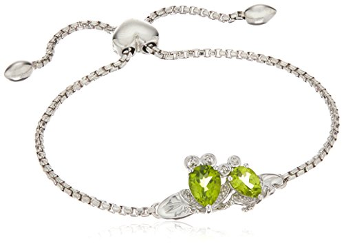 xpy-sterling-silver-coupled-frogs-pear-shaped-peridot-with-diamond-accent-bolo-link-charm-bracelet