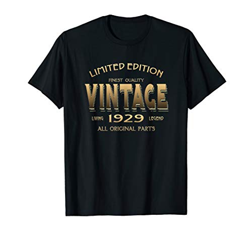 90th Birthday Gift 1929 T-shirt B-day 90 Year Old Age Yr