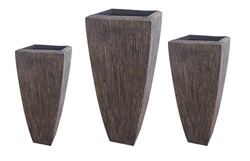 Sandstone Ribbed Long Square Planter Set of 3