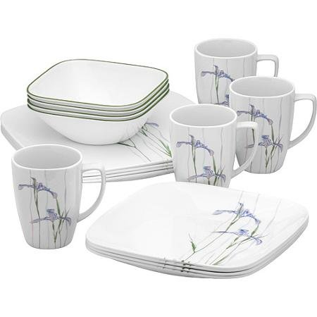 Corelle Squares Shadow Iris 16-Piece Dinnerware Set