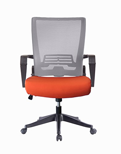 Grey Fabric Custom (ImpecGear Ergonomic Office Chair High Back Mesh with Adjustable Lumbar Support Headrest and Folded Mesh Back,No Tools Need for Install (Custom Seat Fabric - Orange With Grey Mesh))