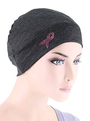 Breast Cancer Awareness Soft Comfy Chemo Cap Hat with Pink Ribbon Rhinestud Charcoal Gray