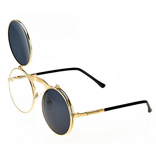Heartisan Unisex Retro Metal Round Frame Flip Up Vintage Sunglasses - Wearing Flip Up Sunglasses