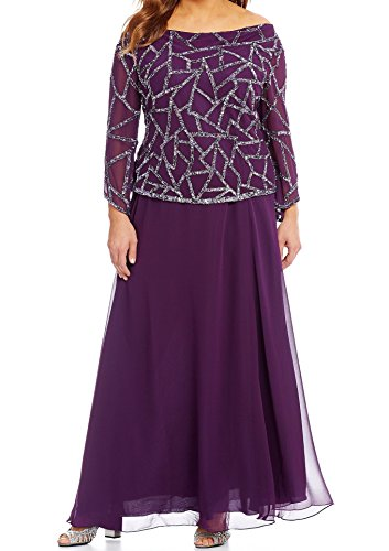 J Kara Sequin Beaded Women's Plus Gown Chiffon Dress Purple 14W