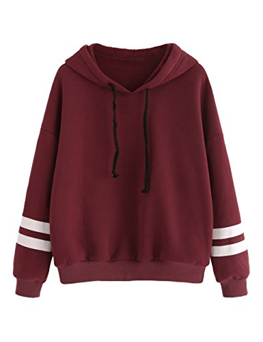 SweatyRocks Women's Sweatshirts Pullover Fleece Drop Shoulder Striped Hoodie Burgundy L Shoulder Fleece Sweatshirt
