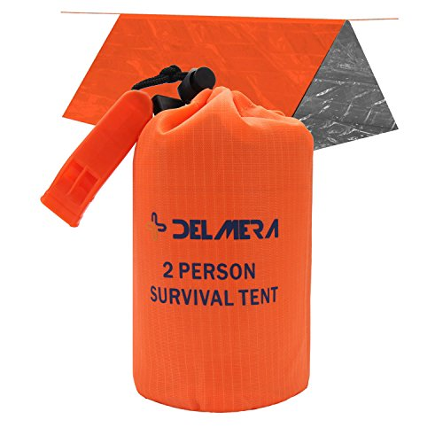 Delmera Emergency Survival Shelter Tent • 2 Person Toughest Mylar Emergency Thermal Tube Tent + Paracord - Perfect for Emergency First Aid Kit, Bug Out Bag, Survival, Hiking, Camping, Auto, or Outdoor