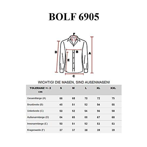 BOLF Hombres Camisa Con Mangas Largas y Camisa Abotonada Camisa Del Ocio Slim Fit BOLF 6905 Burdeos-Negro