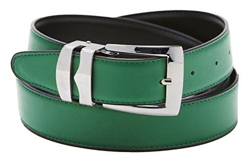Silver Tone Buckle (Reversible Belt Bonded Leather Removable Silver-Tone Buckle GREEN / Black)