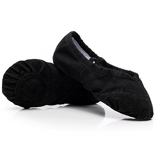 Bumud Mujeres Canvas Zapatillas De Ballet Con Suela Dividida Zapatillas Negras